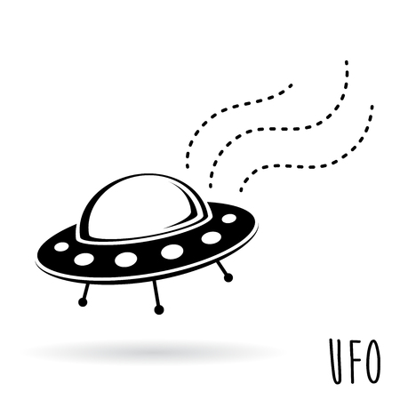 unidentified flying object: UFO unidentified flying object. Flying saucer spacecraft. Vector illustration