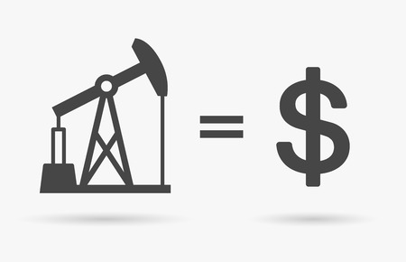 equals: Crude oil sign equals dollar currency symbol - value of oil concept icon. Vector illustration.