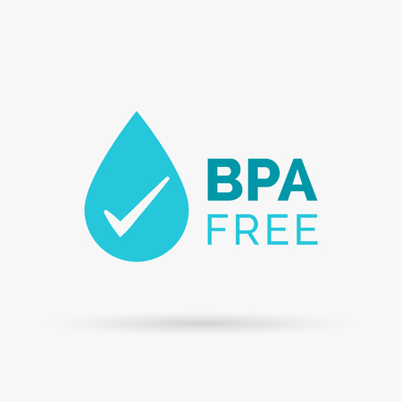 BPA free icon design. BPA free symbol design. BPA free design with waterdrop and tick sign. Vector illustration.