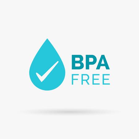 waterdrop: BPA free icon design. BPA free symbol design. BPA free design with waterdrop and tick sign. Vector illustration.