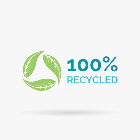 100 recycled icon design. 100 recycled symbol design. Recycle design with circular green leaves sign. Vector illustration.