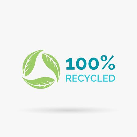 reciclable: 100 reciclados diseño de iconos. 100 reciclada diseño del símbolo. diseño de reciclaje con circular verde deja señal. Ilustración del vector.