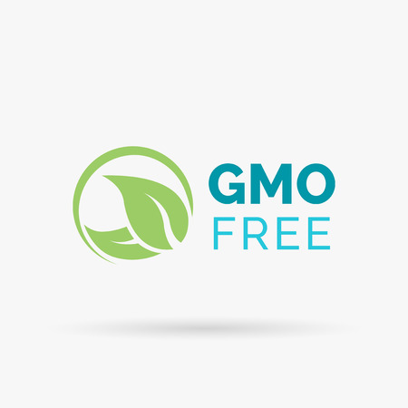 genetically modified organism: GMO free icon design. Non GMO symbol design. Non Genetically Modified Organism sign with green leaves icon. Vector illustration. Illustration