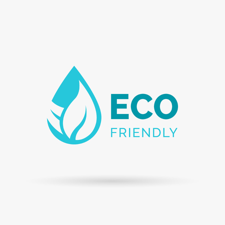 ecological environment: Eco friendly icon design. Eco friendly symbol design. Environmentally friendly sign with waterdrop and leaf icon. Vector illustration.