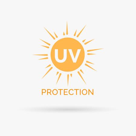 UV-bescherming tegen de zon design icoon. UV-bescherming tegen de zon symbool design. UV SPF bescherming tegen de zon te ondertekenen. Vector illustratie.