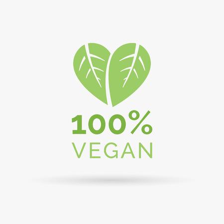 100 vegan icon design. 100 vegan symbol design. Vegan food sign with leaves in heart shape design. Vector illustration.