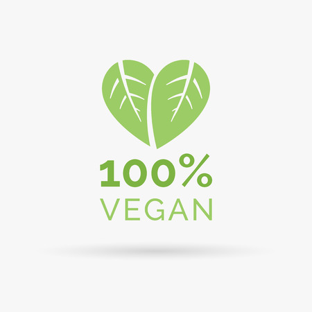 100 vegan icon design. 100 vegan symbol design. Vegan food sign with leaves in heart shape design. Vector illustration.