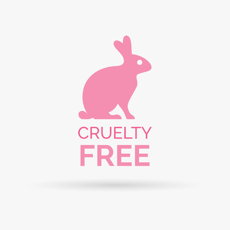 cruelty: Animal cruelty free icon design. Animal cruelty free symbol design. Product not tested on animals sign with pink bunny rabbit. Vector illustration. Illustration