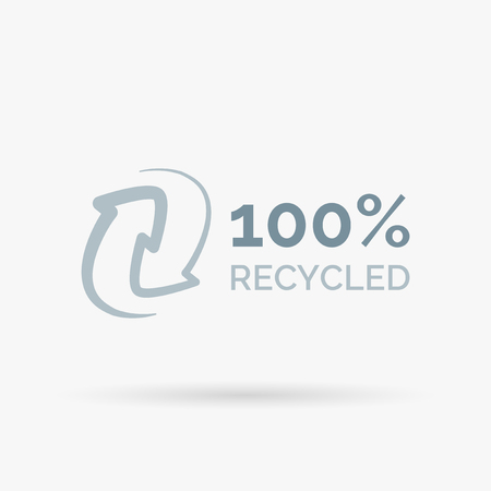 recycle sign: 100 recycled icon design. 100 recycled symbol design. Recycle design sign. Vector illustration.