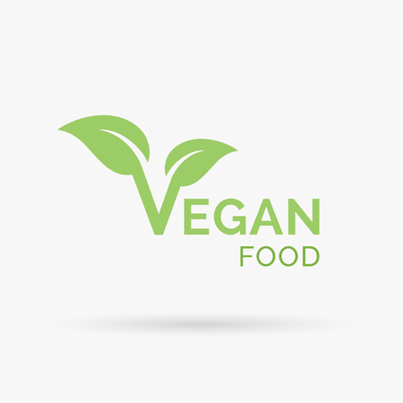 Diseño del icono del vegano. Diseño del símbolo del vegano. signo de comida vegetariana estricta con la letra 'V' y el icono de la hoja. Ilustración del vector.