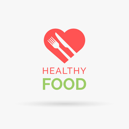 piatto: Eat healthy food icon with red heart, fork and knife. Healthy heart and diet symbol. Vector illustration.