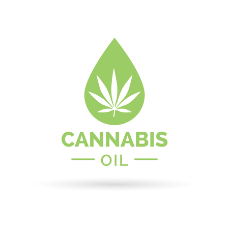Medical Cannabis oil icon design with Marijuana leaf and hemp oil drop symbol. Vector illustration.