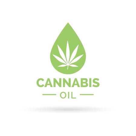 Diseño del icono del aceite de cannabis medicinal con hojas de marihuana y el símbolo de la gota de aceite de cáñamo. Ilustración del vector. Ilustración de vector