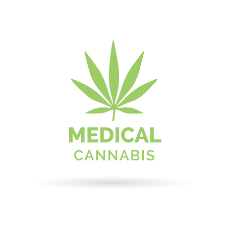 Cannabis medica un'icona del design con il simbolo Foglio della marijuana canapa. Illustrazione vettoriale. Archivio Fotografico - 52783496