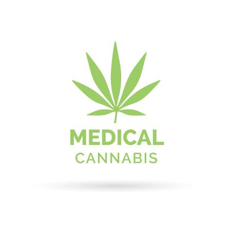 Diseño del icono del cannabis medicinal con el símbolo Hoja de marihuana cáñamo. Ilustración del vector.