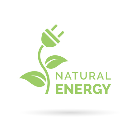 plug: Natural green eco energy icon with electric plug, plant and leaf symbol. Vector illustration.