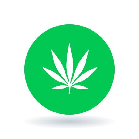 Cannabis icon. Marijuana sign. Hemp leaf symbol. White cannabis icon on green circle background. Vector illustration. Illustration