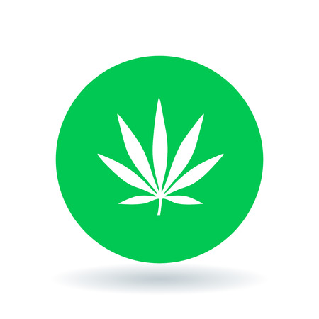 Cannabis icon. Marijuana sign. Hemp leaf symbol. White cannabis icon on green circle background. Vector illustration. Illustration