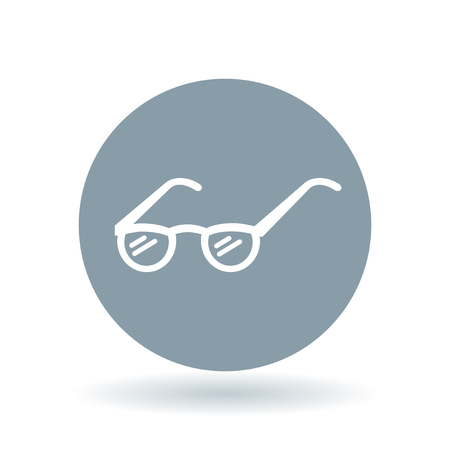 prescribed: Reading glasses icon. Eyeglasses sign. Prescribed spectacles symbol. White reading glasses icon on cool grey circle background. Vector illustration.
