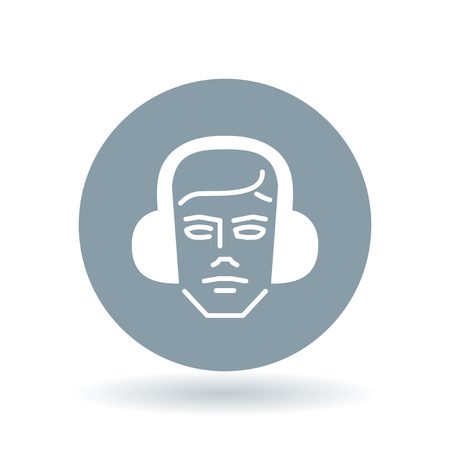 ear muffs: Construction worker with ear muffs icon. Head with ear protection sign. Safety gear symbol. White construction safety gear icon on cool grey circle background. Vector illustration. Illustration
