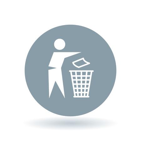 Gooi prullenbak icoon. Gooi afval teken. Prullenbak symbool. White trash bin pictogram op koele grijze cirkel achtergrond. Vector illustratie. Vector Illustratie