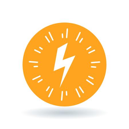 sign orange: Bolt flash icon. Electricity charge sign. Electric strike symbol. White bolt flash icon on orange circle background. Vector illustration.
