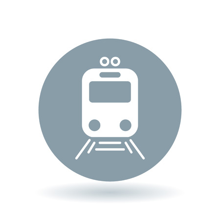 tramway: Tram icon. Tramway station sign. Public city transport symbol. White tram icon on cool grey circle background. Vector illustration.