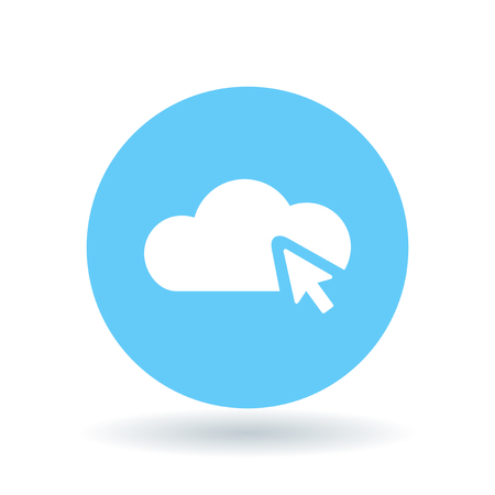 select: Cloud select icon. Cloud selection sign. Cloud click symbol. White abstact cloud select icon on blue circle background. Vector illustration.