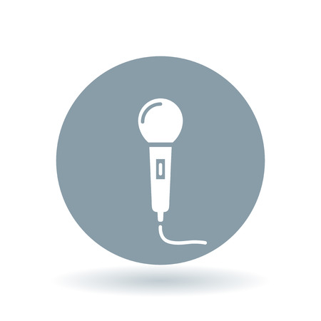reading glasses: Microphone icon. Mic sign. karaoke symbol. White reading glasses icon on cool grey circle background. Vector illustration.
