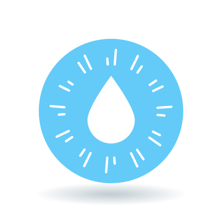 Waterdrop icon. Raindrop sign. Water symbol. White water drop icon on blue circle background. Vector illustration.