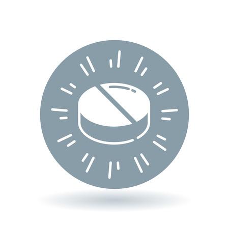 medication: Medicine icon. Medication sign. Tablet symbol. White medicine tablet icon on cool grey circle background. Vector illustration. Illustration