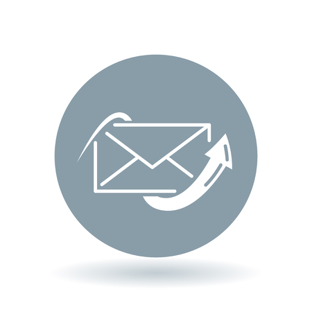 sent: Conceptual email arrow icon. Sent mail sign. Envelope post symbol. White email send icon on cool grey circle background. Vector illustration. Illustration