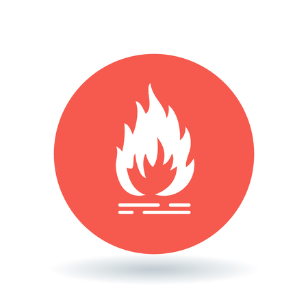 Fire icon. Flammable sign. Flame symbol. White fire icon on red circle background. Vector illustration.