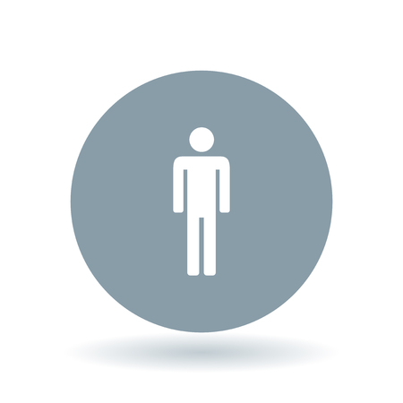cool man: Male gender icon. Man silhouette sign. Masculine gender symbol. White male sign on cool grey circle background. Vector illustration.