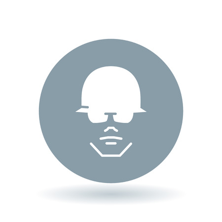 protection gear: Construction worker with head and eye protection icon. Contractor with helmet and glasses sign. Safety gear symbol. White construction worker icon on cool grey circle background. Vector illustration.