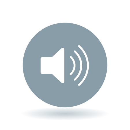 Audio icon. Speaker sign. Volume symbol. White volume icon on cool grey circle background. Vector illustration.