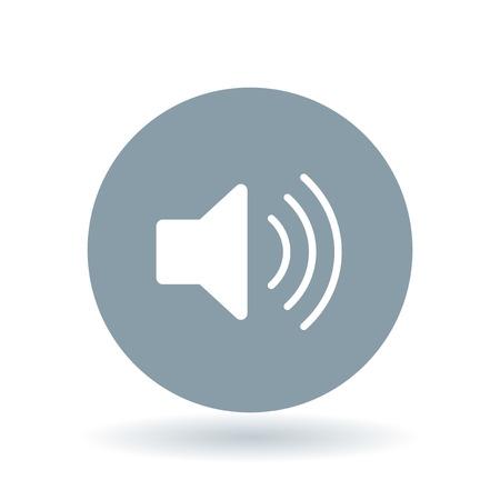 icono de audio. señal de altavoz. Símbolo del volumen. icono del volumen blanco sobre fondo gris fresco círculo. Ilustración del vector.