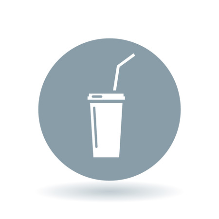 softdrink: Softdrink icon. Cooldrink sign. Soda symbol. White cooldrink icon on cool grey circle background. Vector illustration. Illustration
