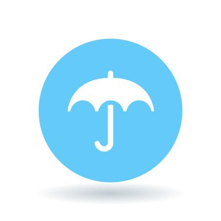 fine weather: Umbrella cover icon. Umbrella protection sign. Umbrella shelter symbol. White umbrella icon on blue circle background. Vector illustration.