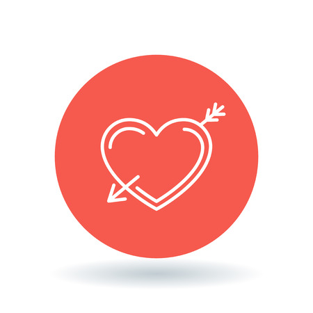 pierced: Arrow heart icon. Pierced heart sign. Fall in love symbol. White heart with arrow icon on red circle background. Vector illustration.