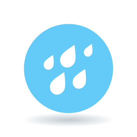 Rain waterdrops icon. Rainfall sign. Raindrops symbol. White rain water drops icon on blue circle background. Vector illustration. Ilustração Vetorial