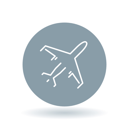 commercial sign: Flying airplane icon. aircraft sign. Commercial passenger plane symbol. White airplane icon on cool grey circle background. Vector illustration.