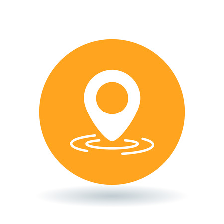 coordinate: GPS marker icon. Location pointer sign. Coordinate pin symbol. White GPS pointer icon on orange circle background. Vector illustration.