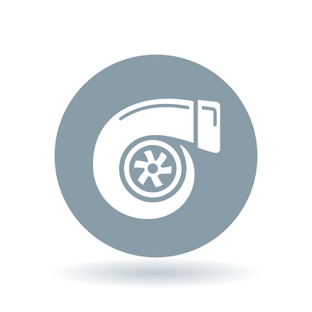air compressor: Vehicle performance turbo icon. Car turbocharger sign. Performance turbo compressor symbol. White turbo icon on cool grey circle background. Vector illustration.