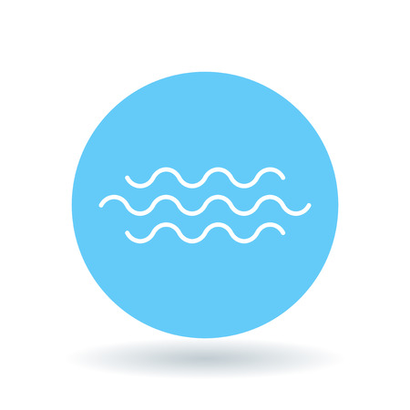 Water flow icon. river crossing sign. Flowing water symbol. White flowing water icon on blue circle background. Vector illustration.