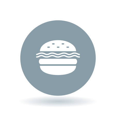 takeout: Burger takeout icon. Cheeseburger fastfood sign. Hamburger takeaway symbol. White hamburger icon on cool grey circle background. Vector illustration.