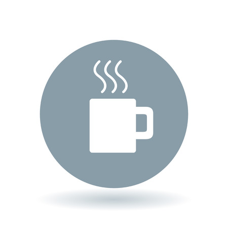 aroma: Coffee break icon. Tea time sign. Steaming coffee mug with aroma symbol. White coffee mug icon on cool grey circle background. Vector illustration.