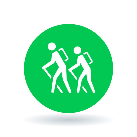 hiking trail: Hike icon. Hiking trail sign. Hiker symbol. White hiking icon on green circle background. Vector illustration.