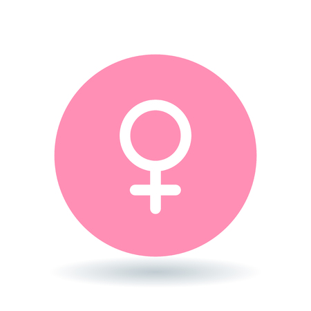 Female gender icon. Ladies sign. Women symbol. White female symbol on pink circle background. Vector illustration.