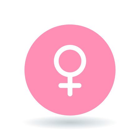 Weibliche Geschlecht-Symbol. Damen unterzeichnen. Frauen-Symbol. Weiße weibliche Symbol auf rosa Kreishintergrund. Vektor-Illustration.
